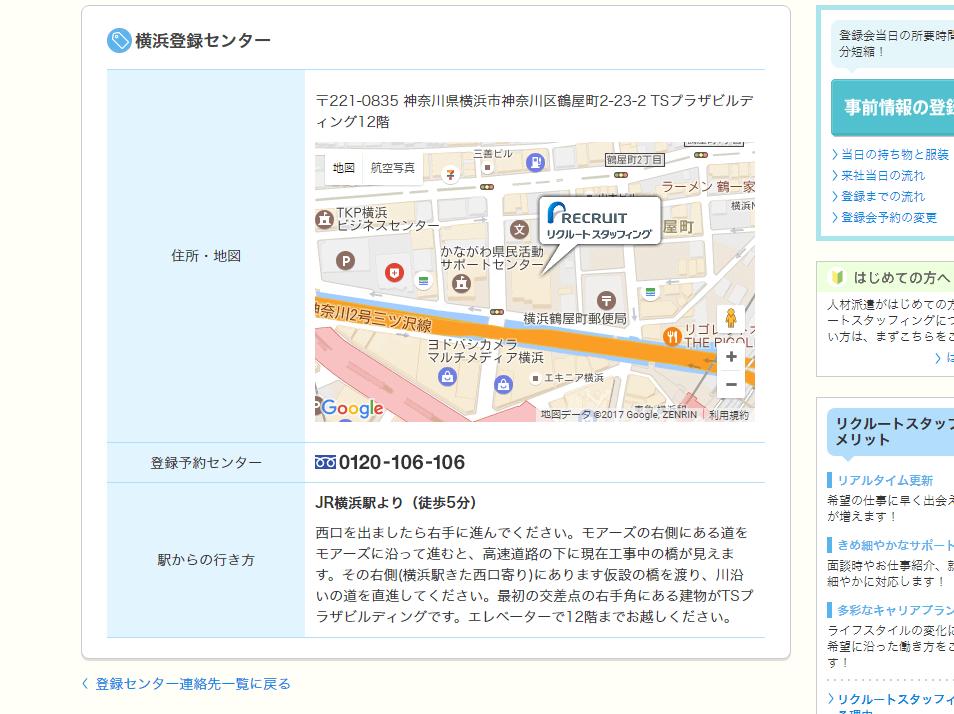 リクルートスタッフィング登録会場へのアクセスマップ